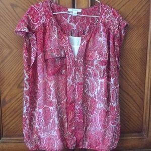 Patterned 100% polyester blouse